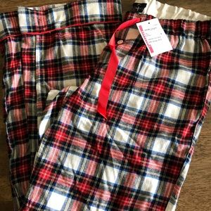 J Crew White Out Plaid Flannel pajama Pants small